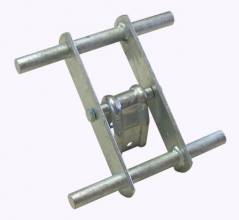 Quad roller support Ø20 axle for 40 mm square